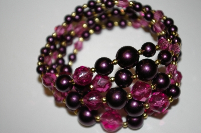 **MBA #25-292   Vintage Purple Acrylic Bead Stretch Bracelet