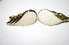 +MBA #25-331   Vintage Silver Tone White Enamel Clip On Earrings