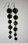 Black Acrylic Bead Drop Pierced Earrings