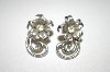 **MBA #25-377  Coro Silver Tone Flower Screw Back Earrings