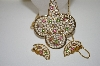 **MBA #6-1426  Vintage Gold Plated Multi Colored Rhinestone Pendant, Chain & Matching Earring Set