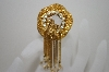 **MBA #6-1407  Vintage Gold Plated Chain Style Rhinestone Pin/Pendant Combo