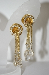 **MBA #6-1412  Vintage Gold Plated Clear Rhinestone Chain Style Clip On Earrings