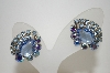 **MBA #6-1044  Vintage Silver Tone Blue AB Crystal & Rhinestone Clip On Earrings
