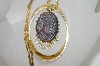 "**MBA #6-1111   Vintage Gold Tone Cameo Pendant With 16"" Chain"