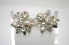 **MBA #6-1308   Verdome Silver Tone Crystal  & Faux Pearl Clip On Earrings