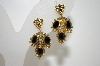 **MBA #6-1198   Florenza Gold Tone Black Stone Clip On Earrings