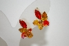 **MBA #6-1208   Vintage Shades Of Orange Crystals & Rhinestones Clip On Earrings