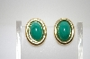 **MBA #6-1296   Kenneth J. Lane Gold Tone Green Magnetic Clip On Earrings