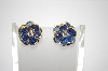 "+MBA #6-1375  ""Vintage Blue Acrylic Stone Pierced Earrings"