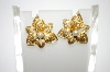 **MBA #6-1379   Vintage Gold Tone Clip On Earriings