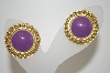 +MBA #6-1112   Vintage Gold Tone Lavender Enameled Earrings