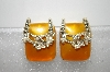 +MBA #6-1131  Vintage Gold Thermoplastic  & Seed Pearl Earrings