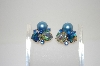 **MBA #6-1261   Eugene Blue Bead Clip On Earrings