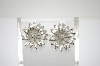 **MBA #6-0996   Giovanni Silver Tone Flower Clip On Earrings