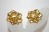 **MBA #6-1013   Avon Gold Tone Rose Clip On Earrings