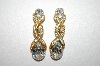 **MBA #6-1182   Monet Gold Tone Clear Rhinestone Clip On Earrings
