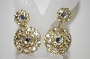 **MBA #6-1140   Vintage Large Goldtone Rhinestone Clip On Earrings
