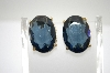 +MBA #6-1277   Vintage Blue Glass Clip On Earrings