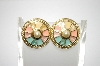 +MBA #6-1103  Vintage Gold Tone Enameled Pierced Earrings