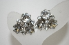 **MBA #6-1118  Vintage Silver Tone Clear Rhinestone Clip On Earrings