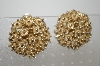 +MBA #6-1009 Vintage Large Gold Plated Clip On Earrings