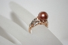 +MBA #6-1433  14K Rose Gold Tahitian Pearl & Diamond Ring