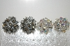 **MBA #6-1034   2 Pairs Vintage Silver Tone Crystal Bead Clip On Earrings