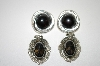 **MBA #6-0947   2 Pairs Vintage Black Stone Earrings