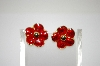 +MBA #6-1313  Vintage Red Enamel Flower Earrings
