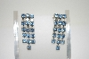 **MBA #6-1240   Vintage Blue Rhinestone Screw Back Earrings