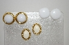 **MBA #6-1285  3 Pairs Vintage Gold Tone Earrings