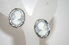 +MBA #6-0967   Vintage Silver Tone Blue & White Cameo Clip On Earrings