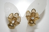 **MBA #6-1031   Vintage Gold Tone Clip On Earrings