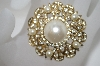 +MBA #6-1191  Vintage Faux Pearl & Rhinestone Pin