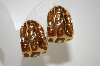 +MBA #6-1025  Vintage Gold Tone Large Animal Print Clip On Earrings