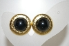 +MBA #6-1094   Vintage Black Acrylic Stone Clip On Earrings