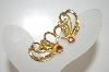 **MBA #6-1028   Vintage Gold Tone AB Rhinestone Clip On Earrings