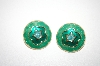 +MBA #6-0971   Made In The USA Green Enameled Earrings