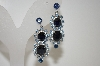 **MBA #6-1205  Vintage Two Shades Of Blue Rhinestone Screw Back Earrings