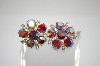 **MBA #6-1317   Vintage AB Crystal & Clear Rhinestone Clip On Earrings