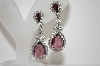**MBA #6-1271   Vintage Purple & Clear Rhinestone Silver Tone Earrings
