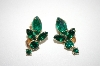 **MBA #6-1228  Vintage Gold Tone Green Rhinestone Earrings