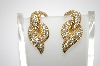 **MBA #6-1258   Boucher Gold Tone Clear Rhinestone Clip On Earrings