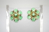 **MBA #6-1253  Vintage Green Enameled Flower Screw Back Earrings