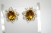 **MBA #6-1244   Coro Gold Tone Amber Rhinestone Earrings