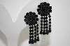 Vintage Black Rhinestone Clip On Earrings