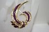 Trafari Gold Tone Purple Rhinestone & Enamel Pin