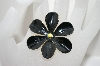 **MBA #6-1077   Sandor Co. Gold Tone Black Enameled Flower Pin