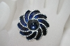 +MBA #6-1071   Vintage Blue Enameled Silver Tone Pin
